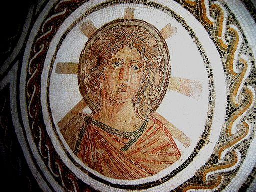 Picture of tile mosaic of Apollo, with halo and sun rays eminating from head